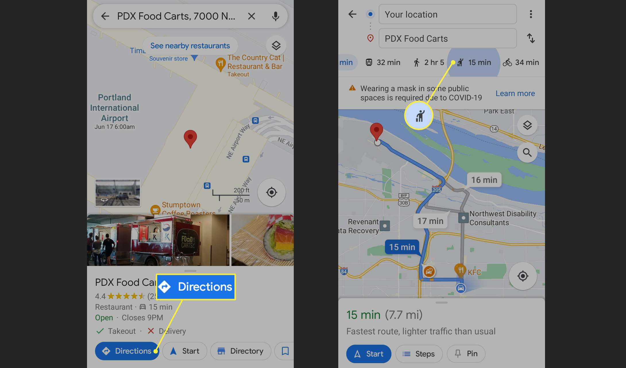 Directions and Rideshare tab in Google Maps app