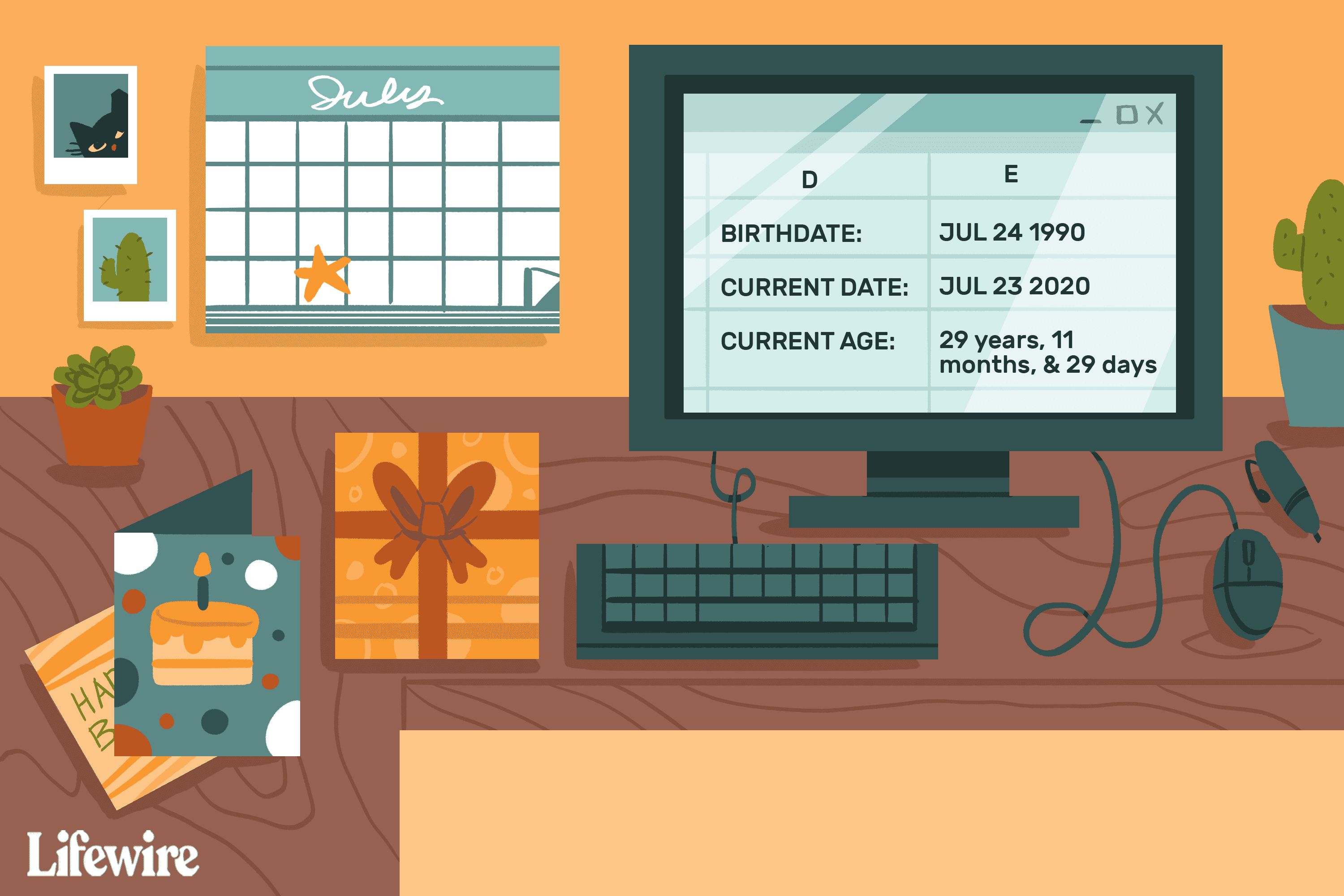 Illustration of an Excel spreadsheet on a computer calculating age in a room with birthday cards and presents
