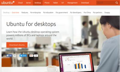 Ubuntu for Desktops homepage