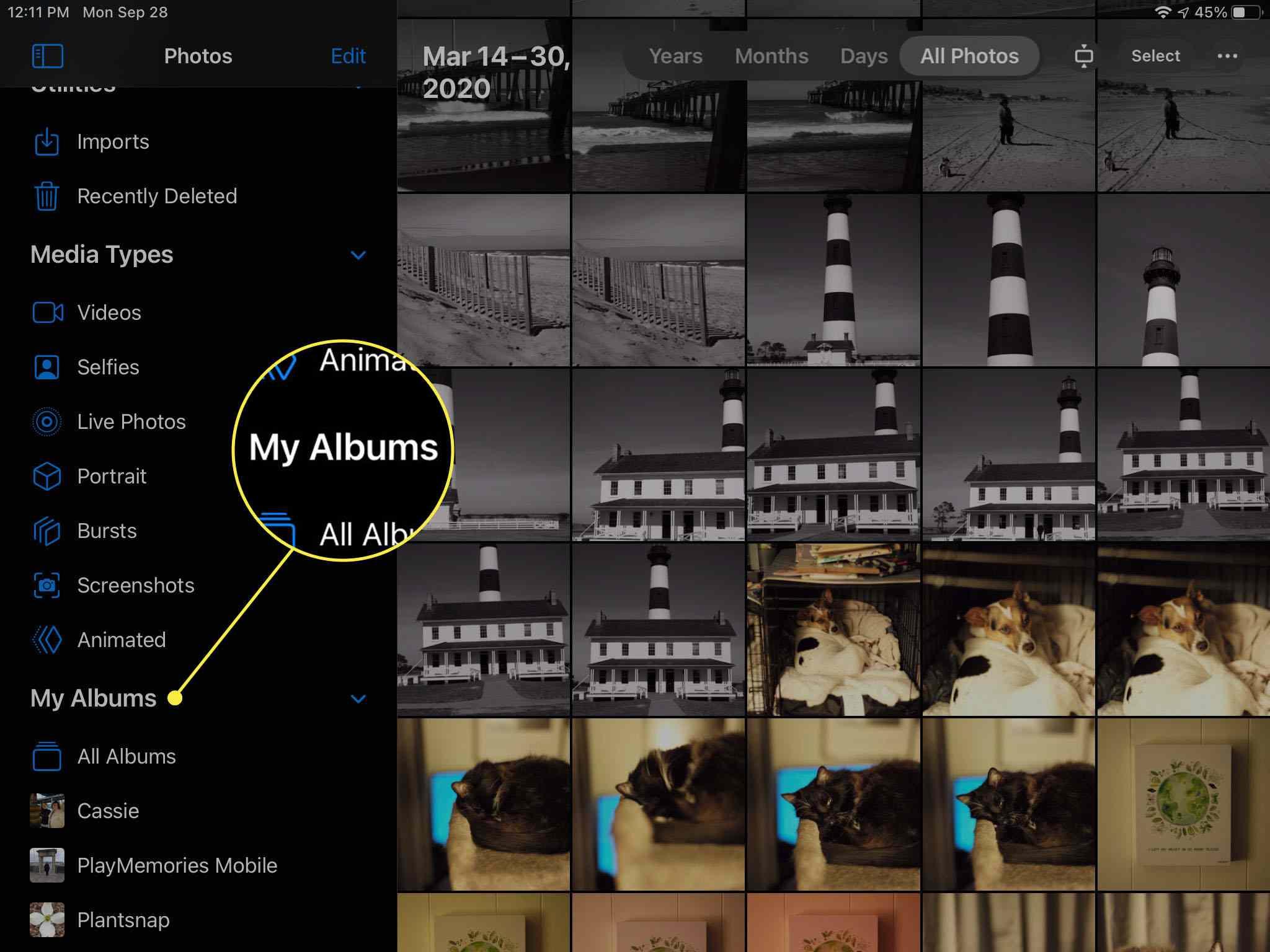 Selecting My Albums on iPad.