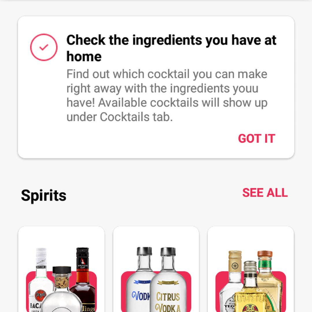 A screenshot of the Cocktail Flow app's My Bar feature which allows you to select the cocktail ingredients you already have to get drink recipe suggestions. This screen shows part of the ingredient selections for the Spirits category.