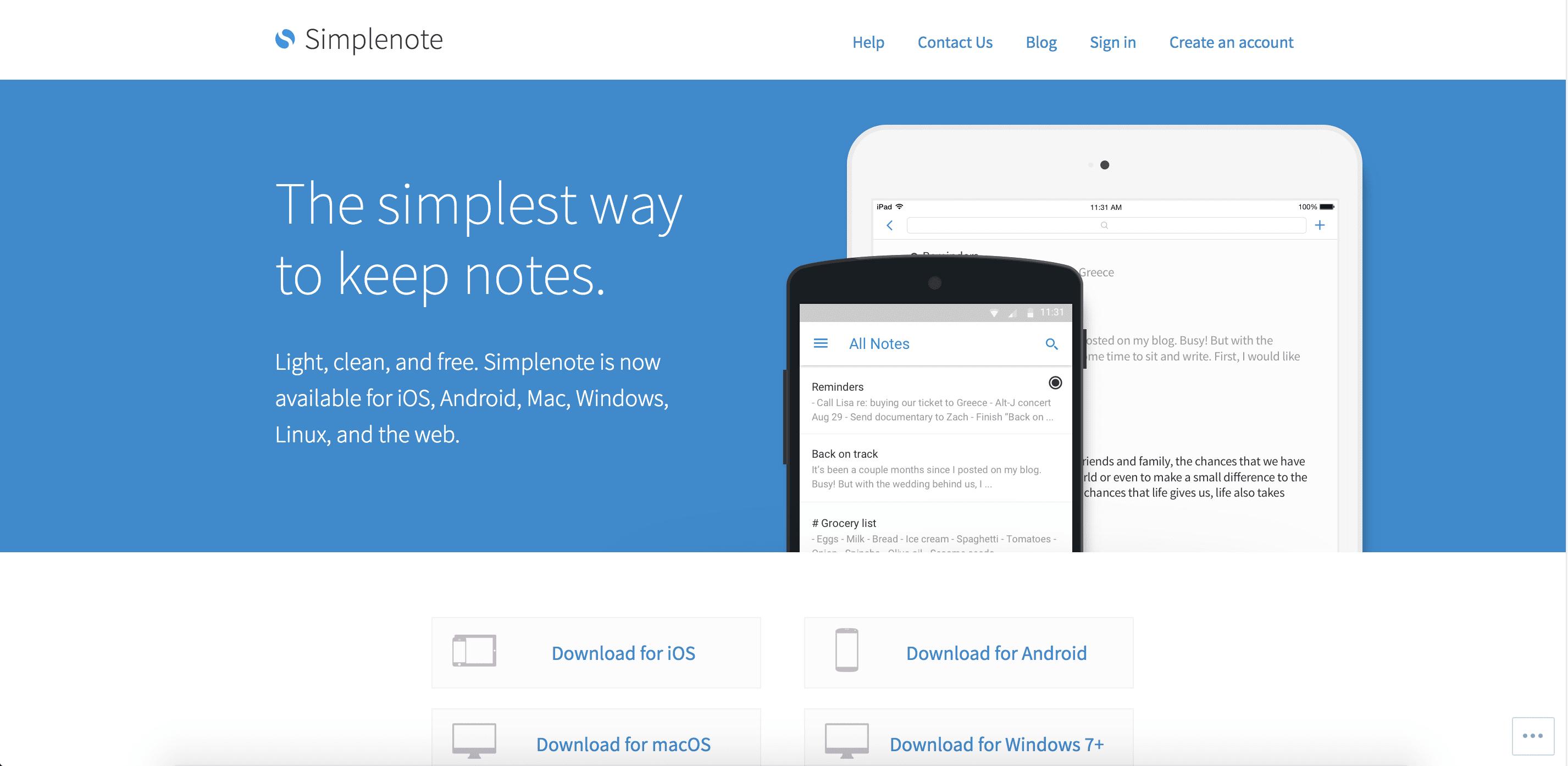 Simplenote website