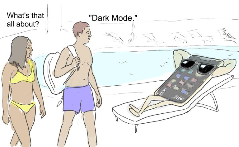 Two people at a pool spot an ultra-cool iPhone using Dark Mode