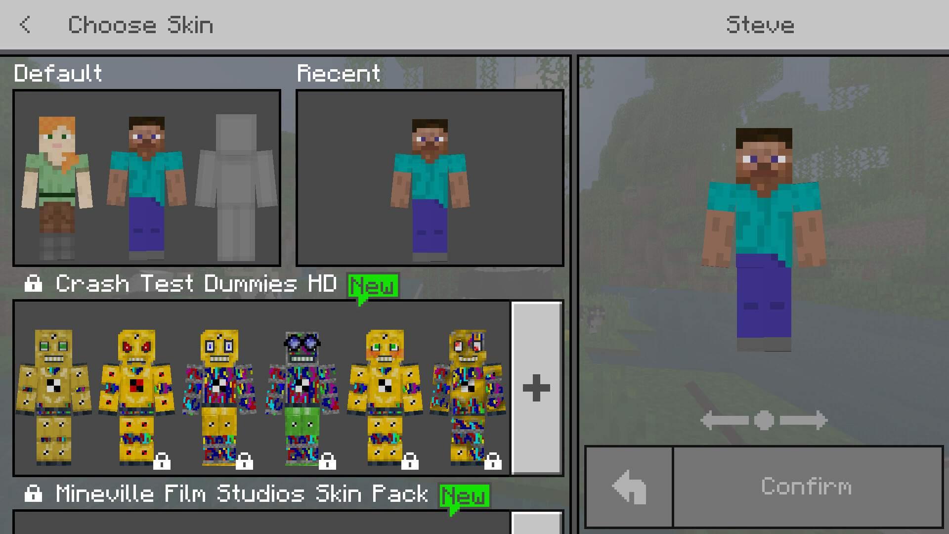 Minecraft Mobile Skin Menu