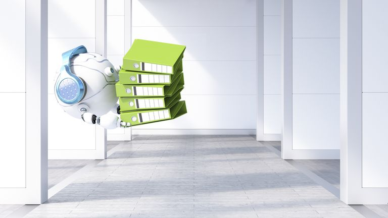 Robotic drone carrying file stack, 3d rendering
