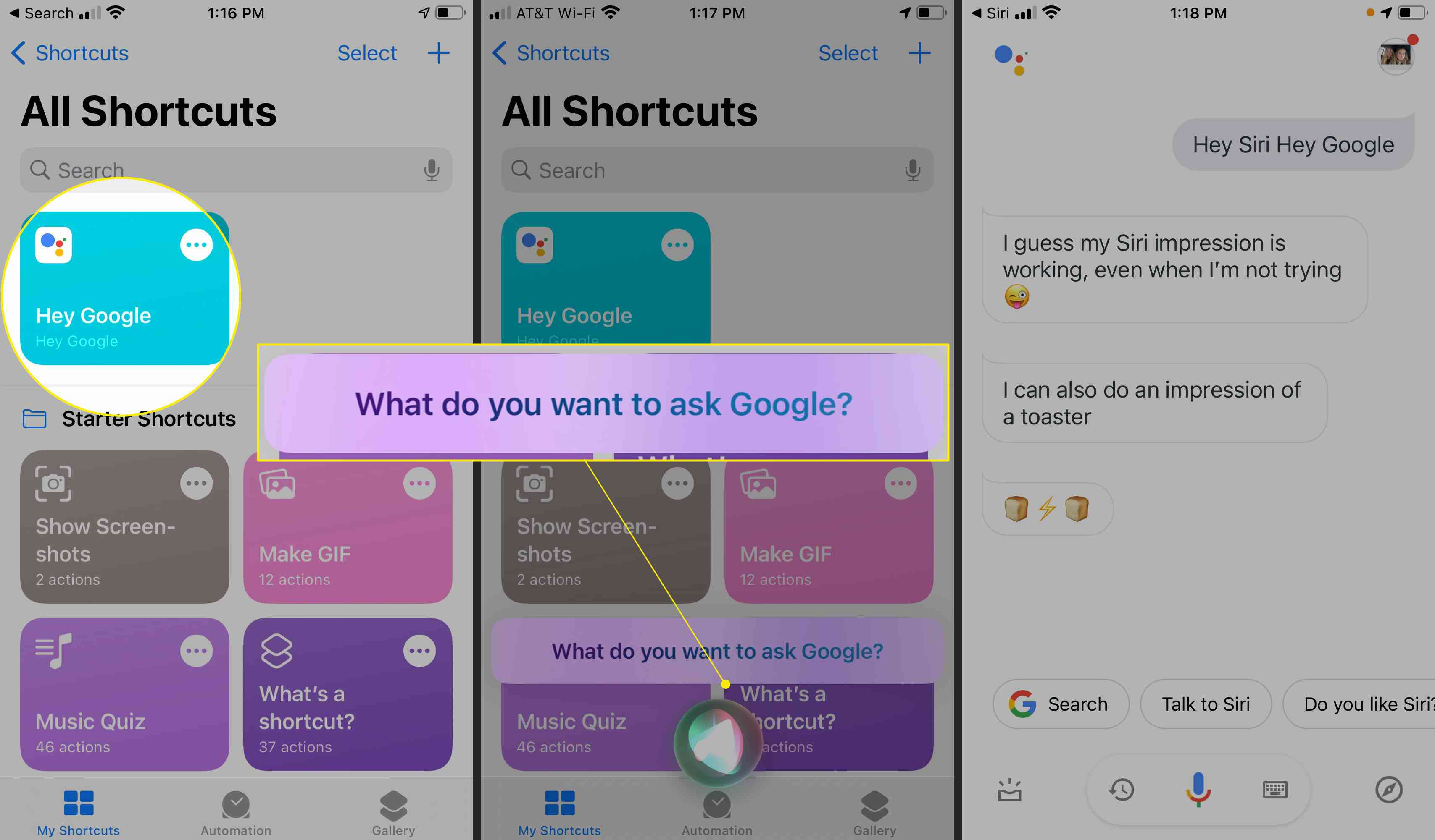 The Shortcut screen with
