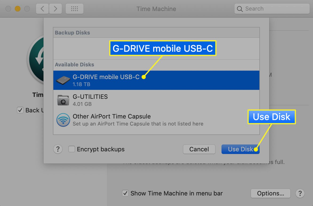 Time Machine drive selection menu with Use Disk highlighted