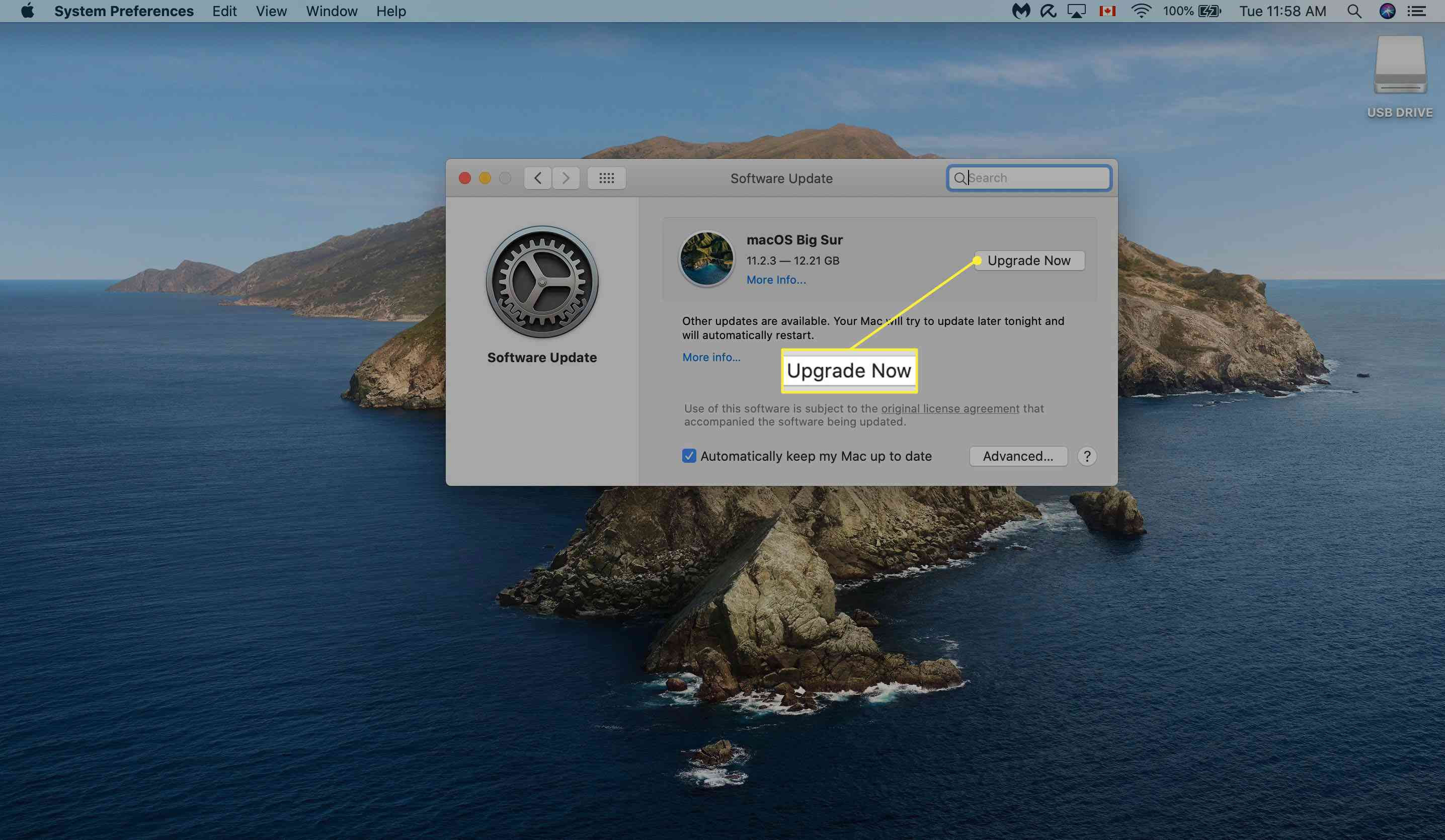 Confirming Software Update on Mac.