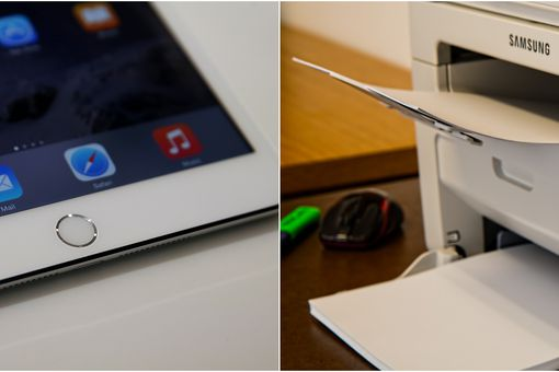 Side by side pictures of an iPad and a Samsung printer.
