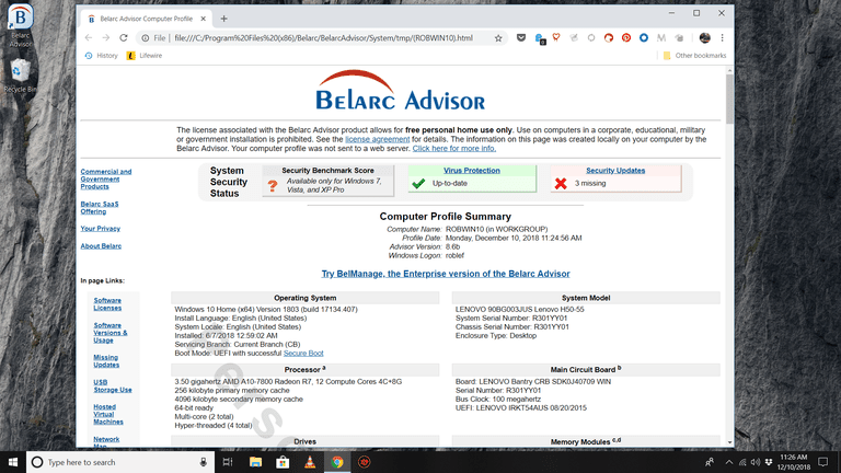 Belarc Advisor analysis screen on Windows 10 desktop