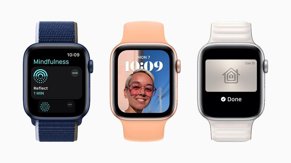 Three Apple Watches displaying watchOS8.