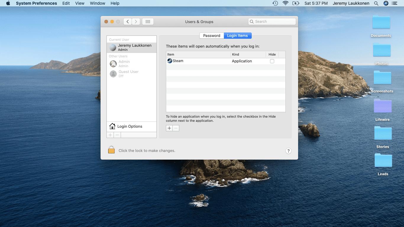 A screenshot of login items on a Mac.