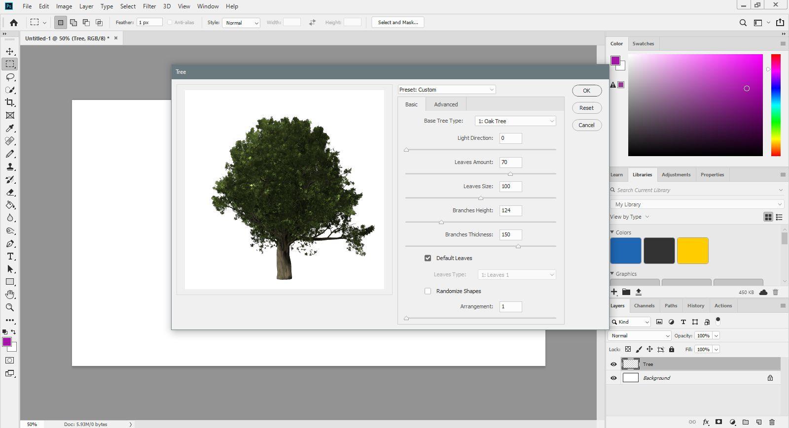 The basic tree filter options in Photoshop.