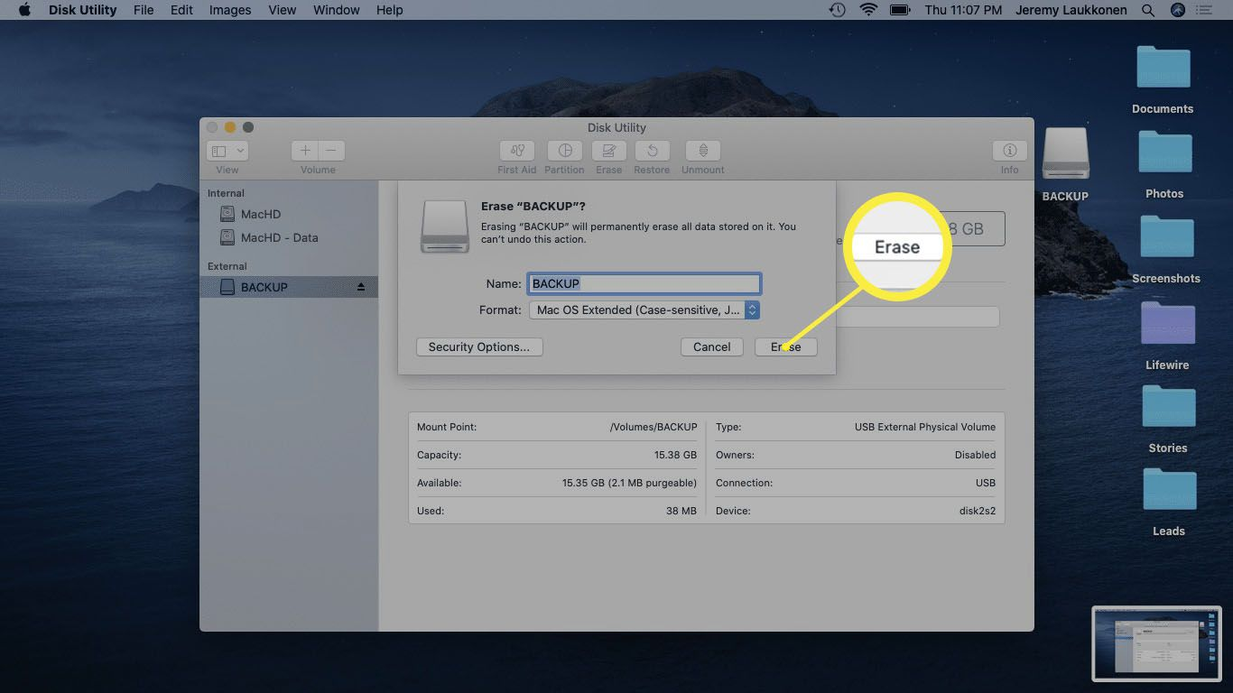 A screenshot of Disk Utility app on macOS.