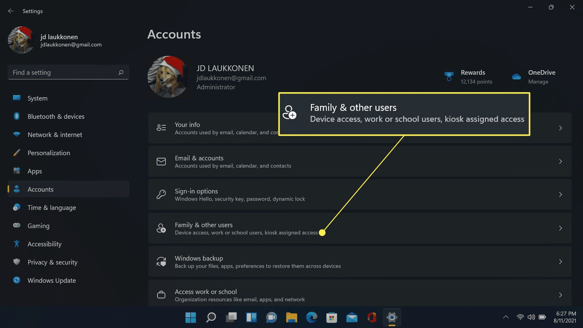 Family & other users highlighted in Windows 11 account settings.