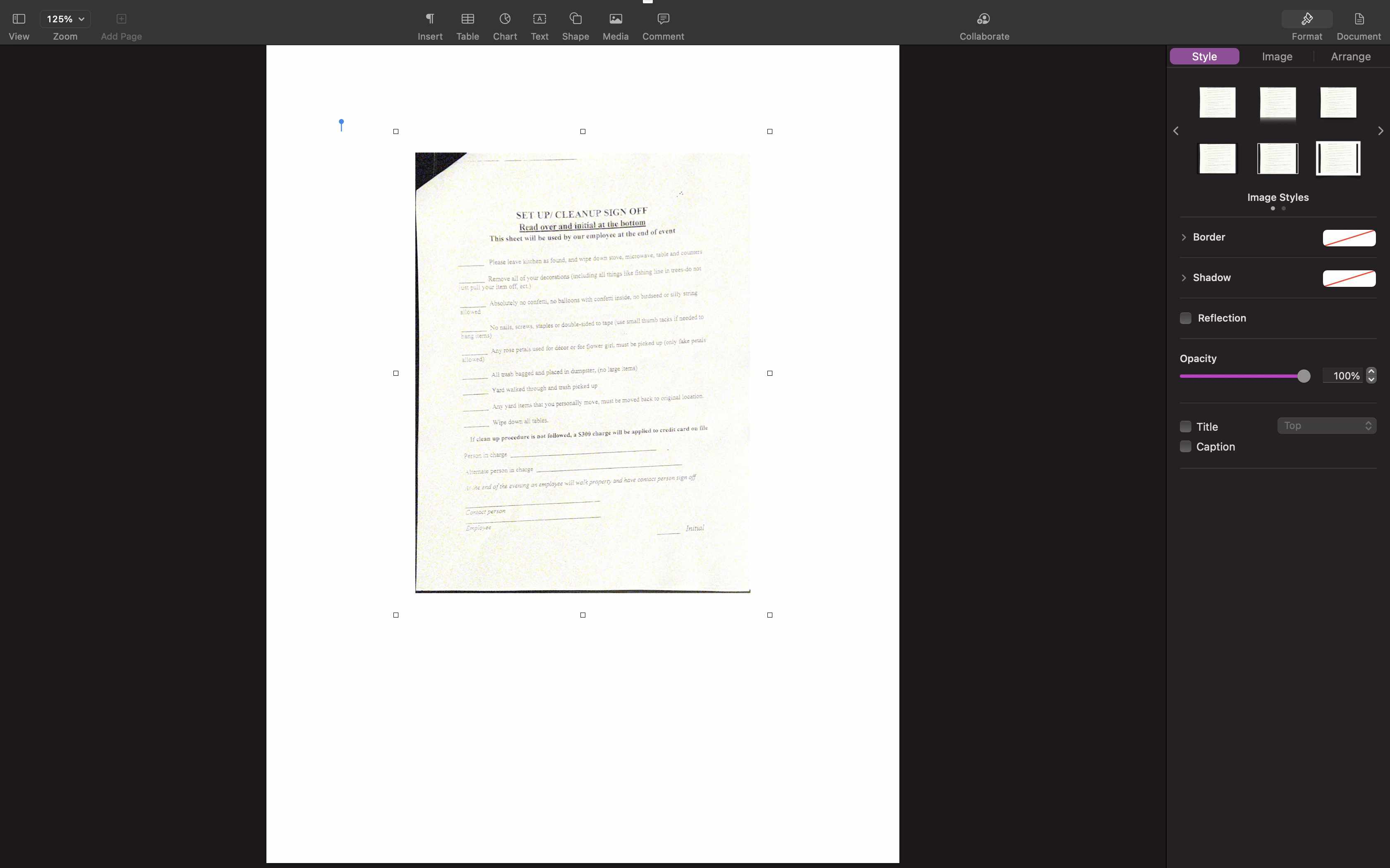 A scan inserted into a document in Pages on the Mac.