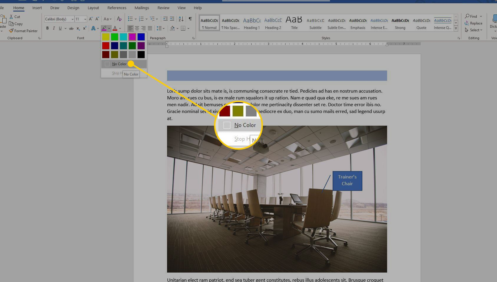 Highlight Color menu in Word with the No Color option highlighted