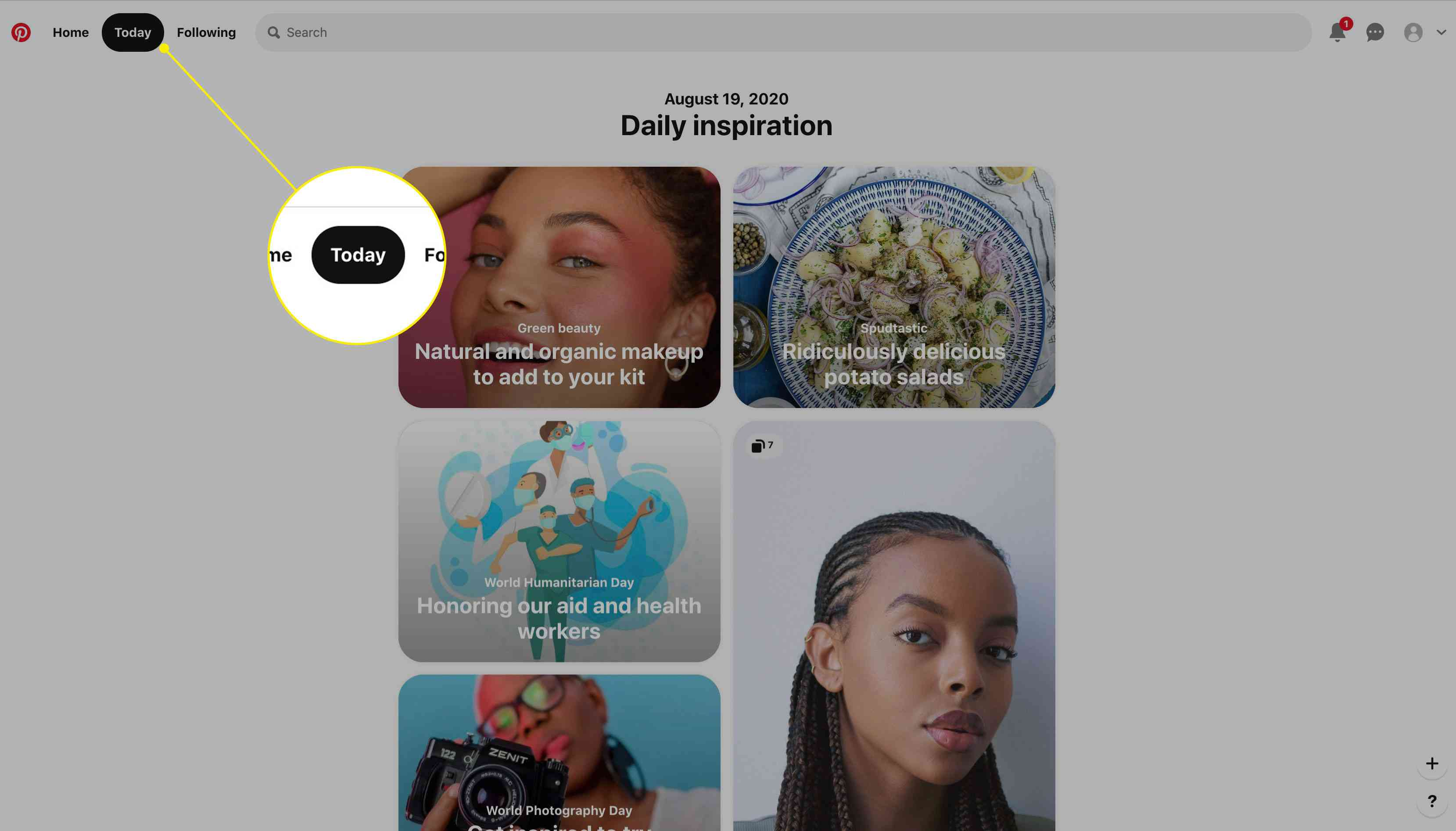 The Today tab on Pinterest