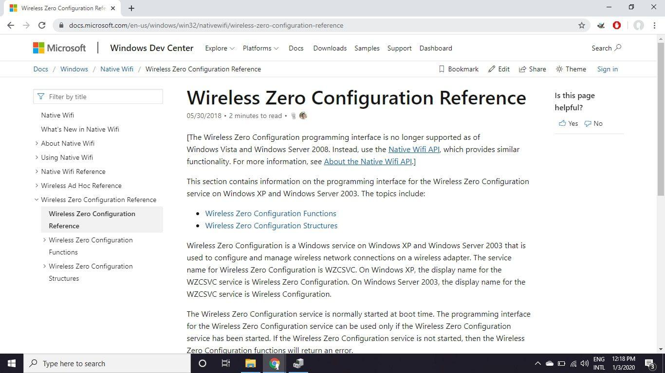 Microsoft's Wireless Zero Configuration (WZC) documentation guide