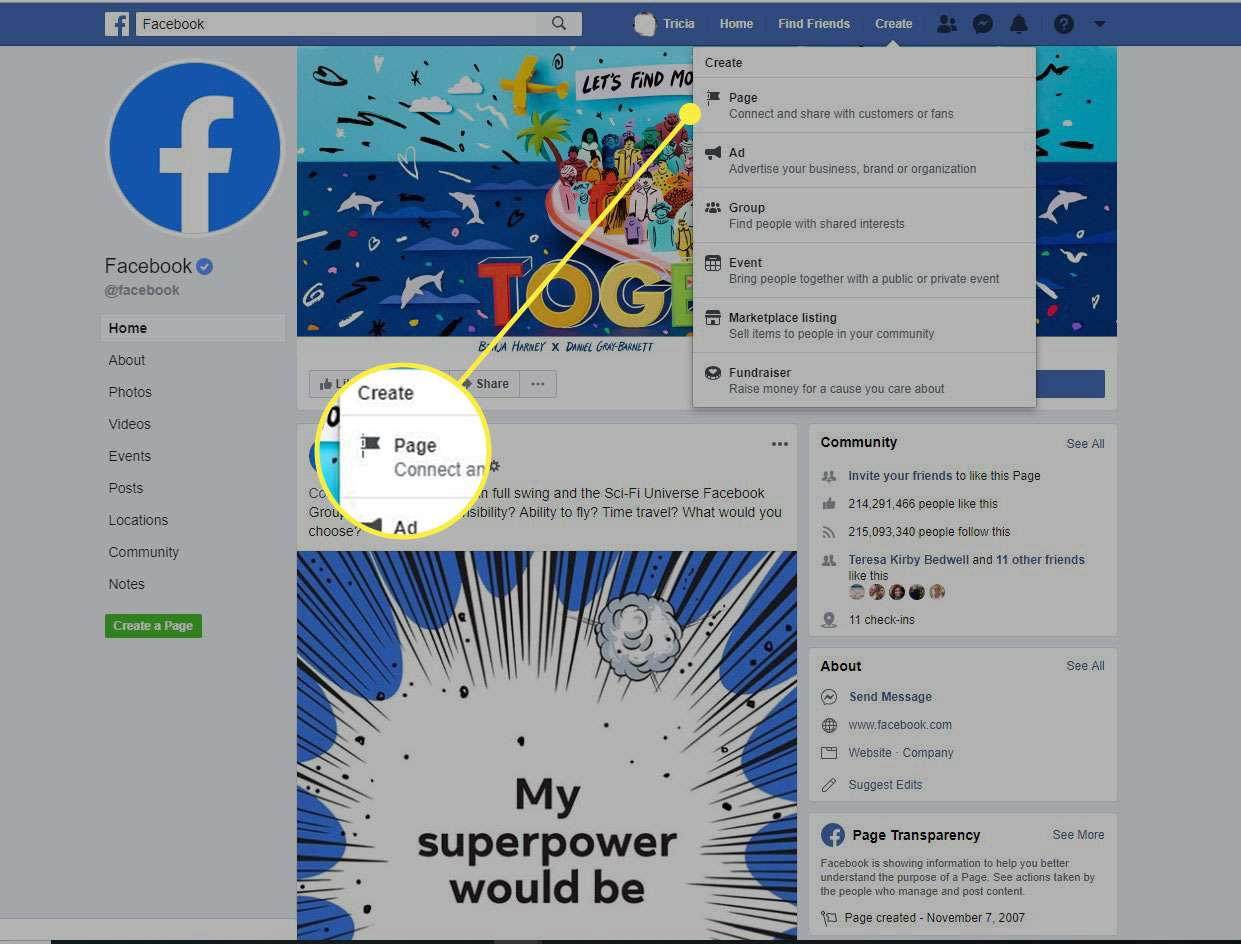 A screenshot of Facebook with the Create Page command highlighted