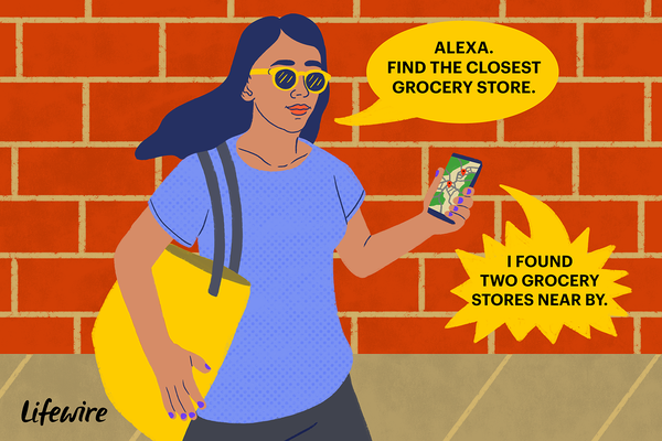 Illustration of a person asking Alexa (on their phone) to find the closest grocery store