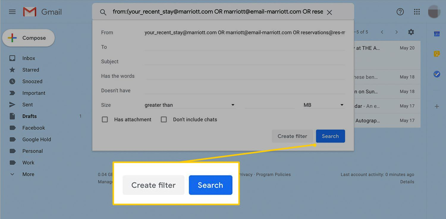 Create filter and Search buttons in Gmail