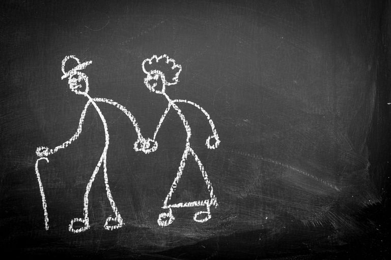 Animation of stick figure elderly couple on chalkboard