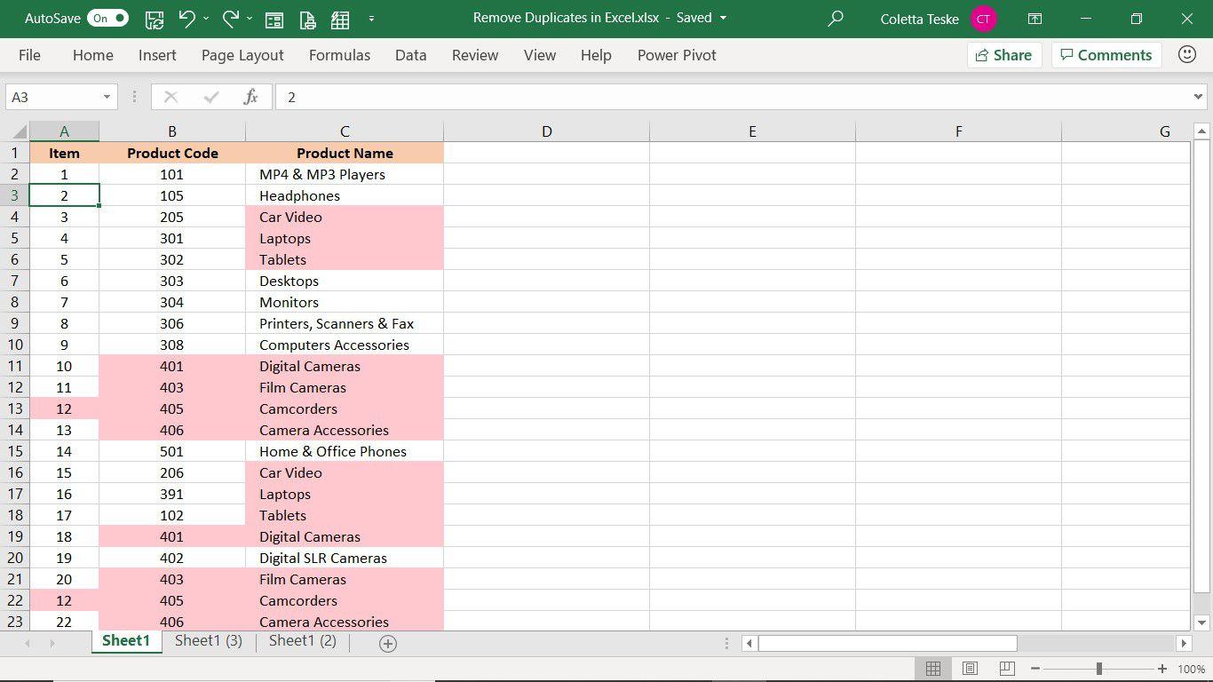 Excel worksheet with duplicate rows