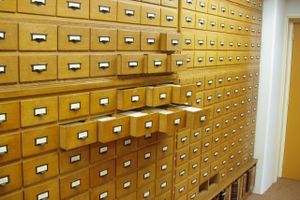File boxes in a hallways representing word archives