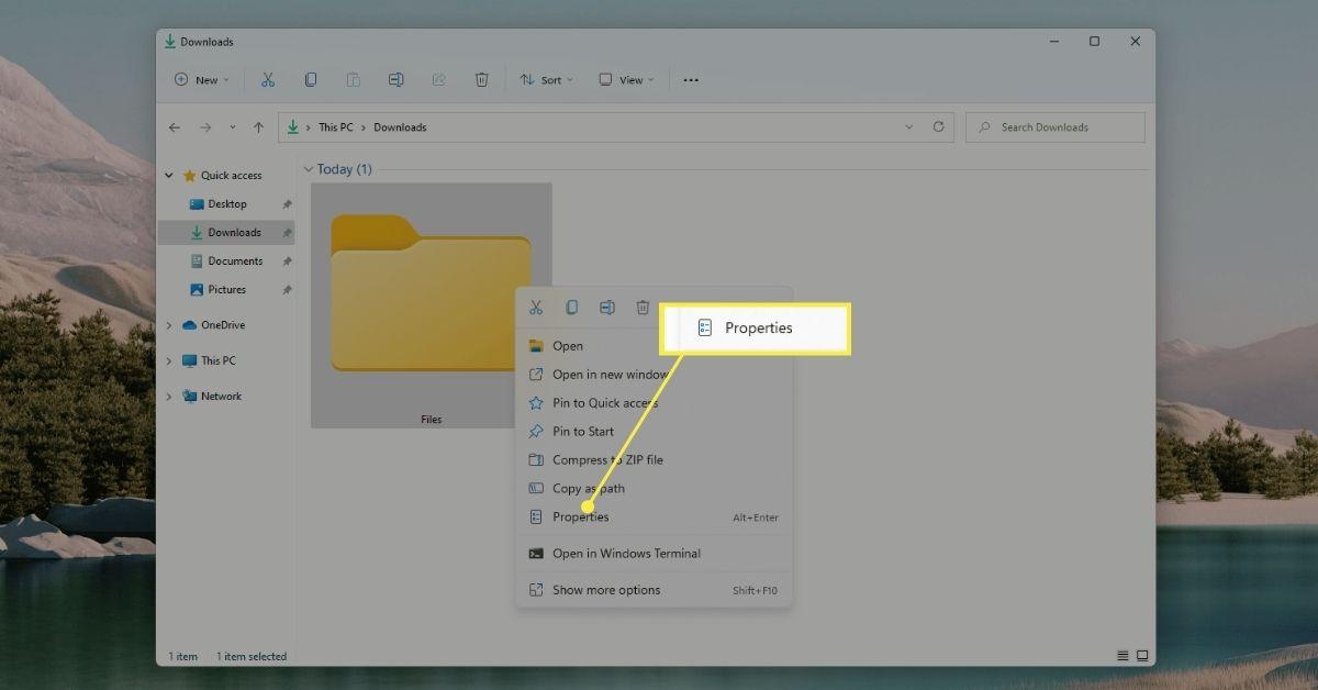 Right-click folder menu in Windows 11