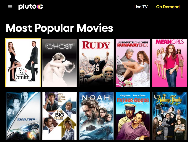 Pluto TV most popular free movies