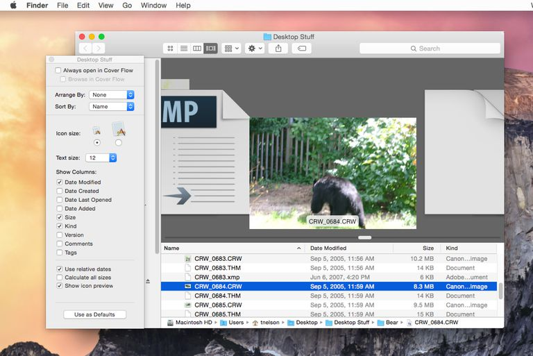 The Finder's Cover Flow Options