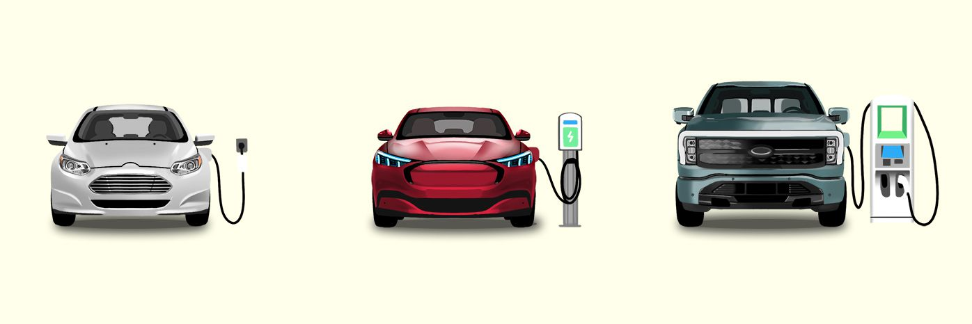 Illustration of 3 EVs using the three charging station levels.