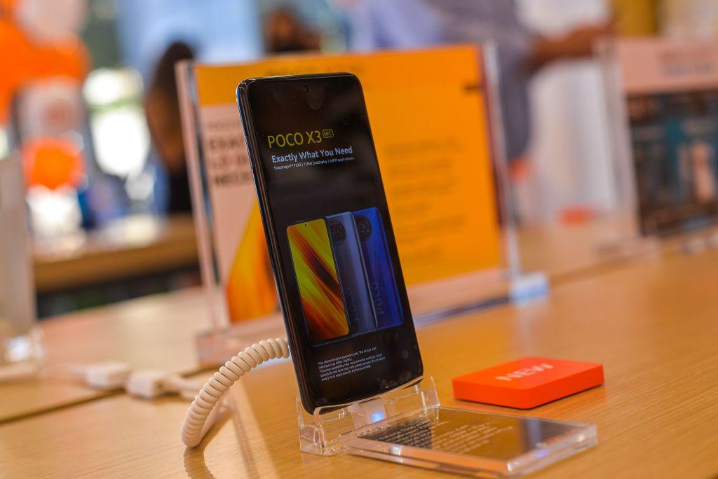 A Xiaomi smartphone on display at a Xiaomi store in El Salvador.
