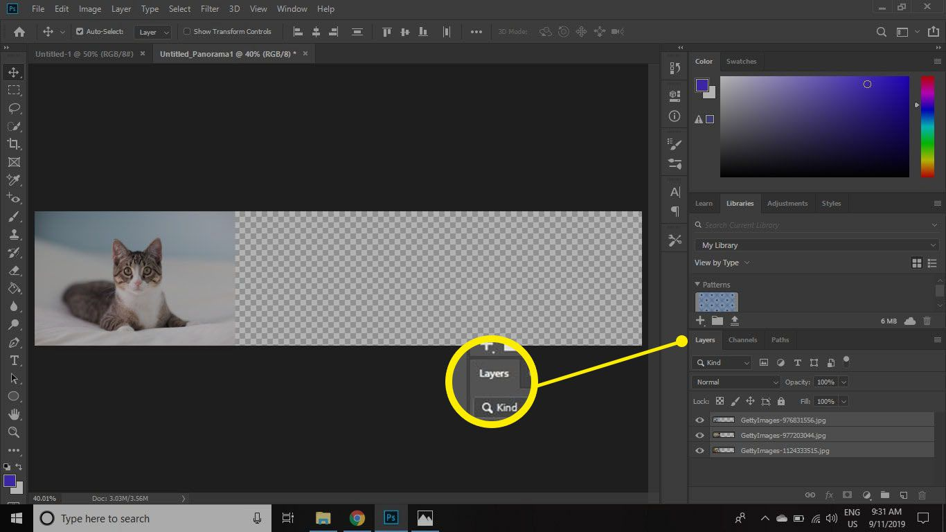 click on the top layer in the Layers palette to select it individually.