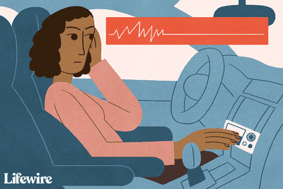Illustration of a person in a car with speakers not working