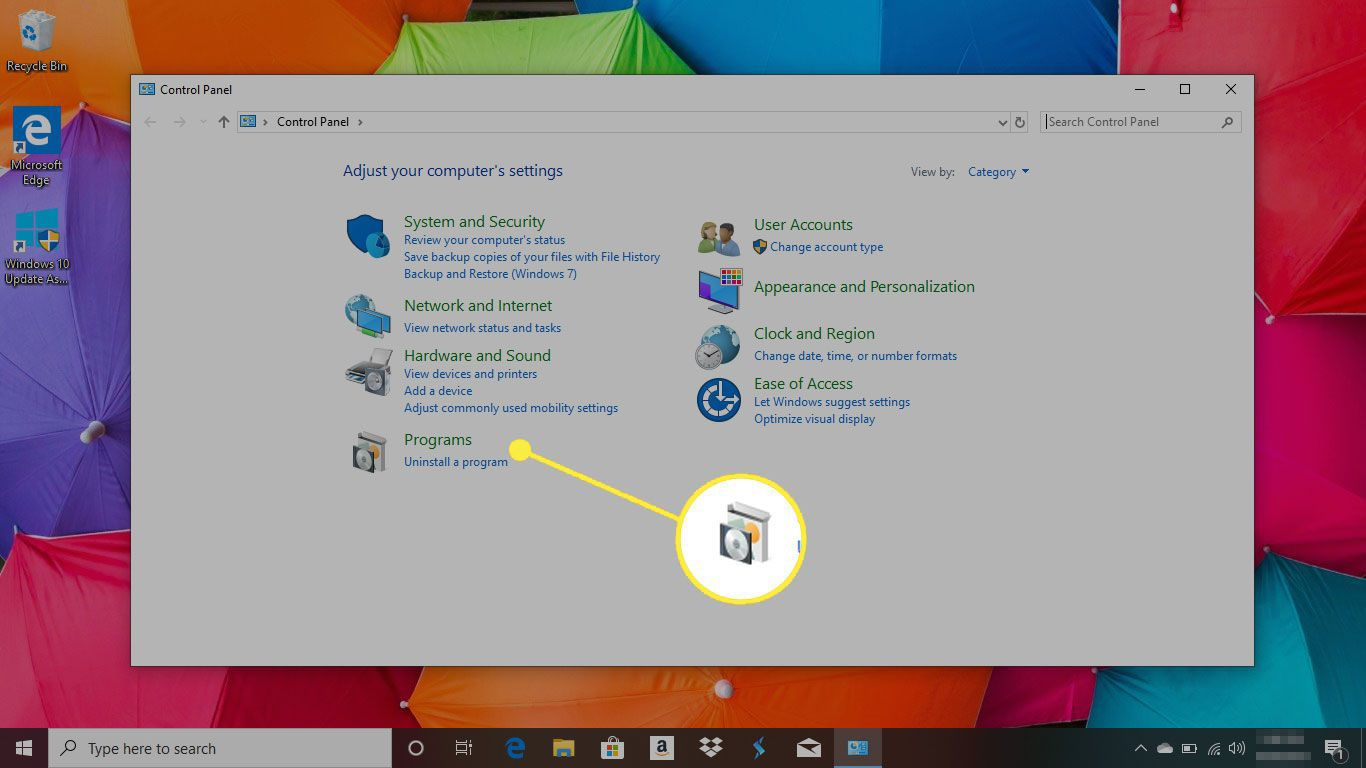 Control Panel in Windows 10 with the Programs menu highlighted