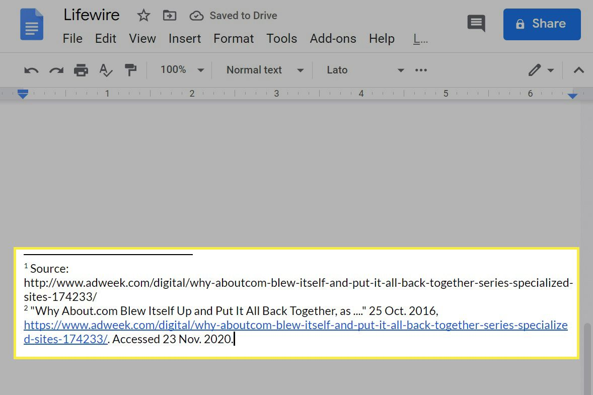 Two footnotes in Google Docs on the web.