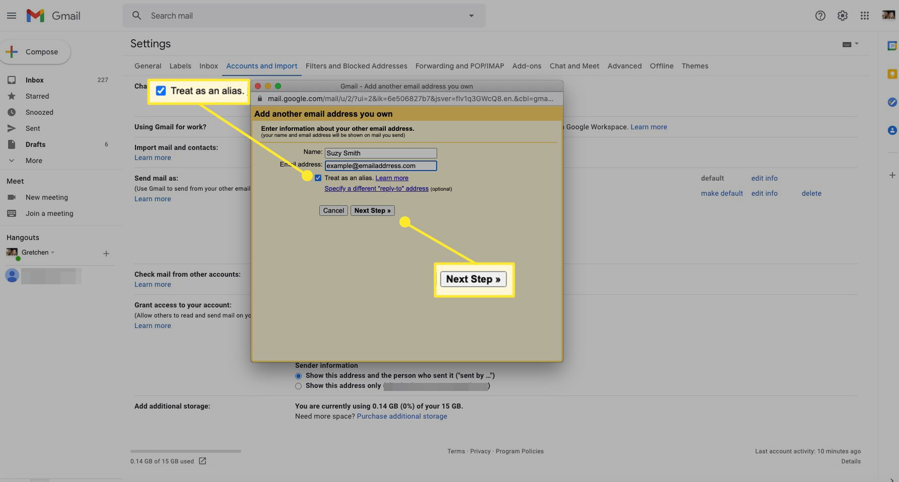 Add email address screen in Gmail with checked box and