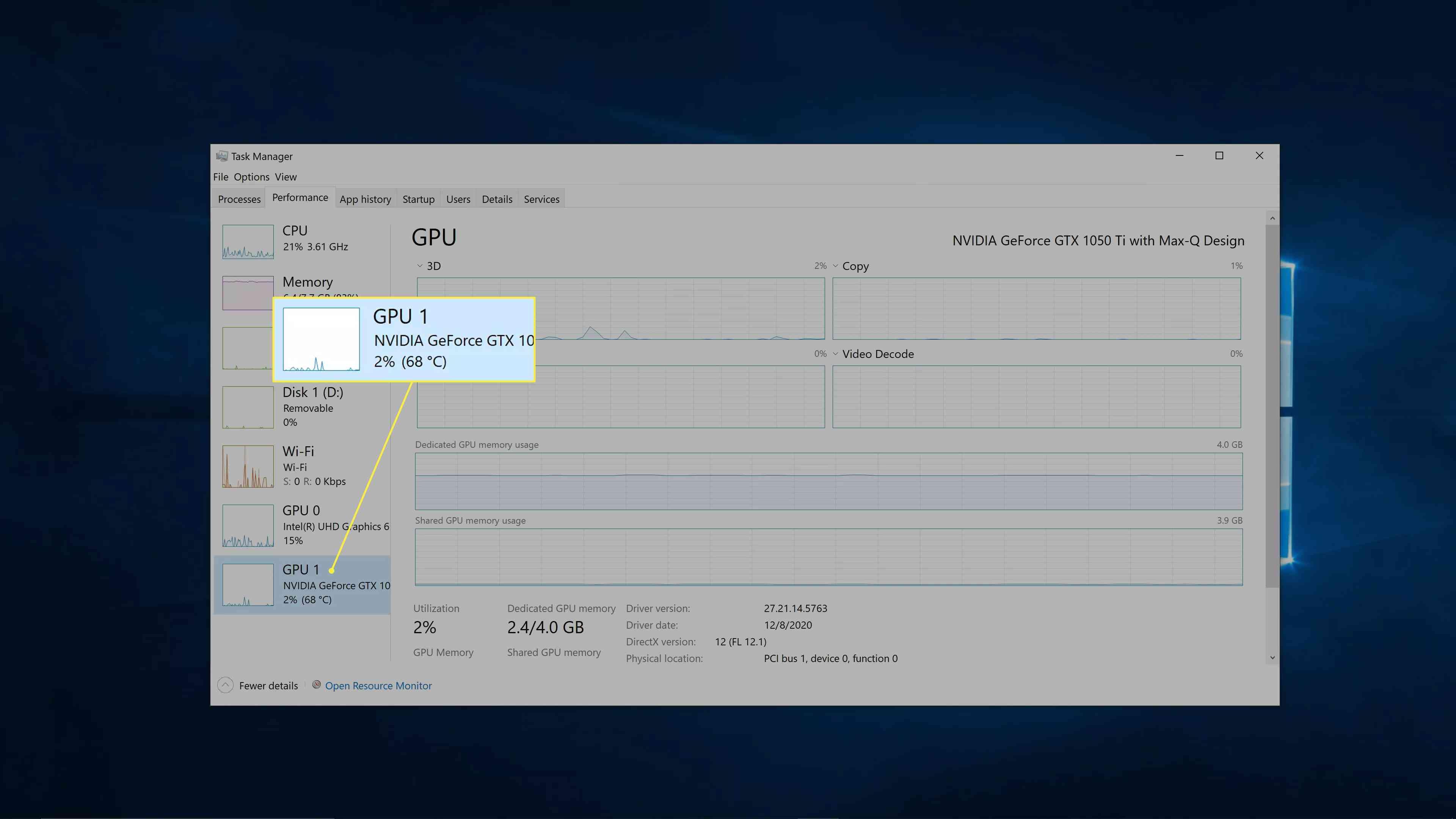 Windows 10 GPU specs.