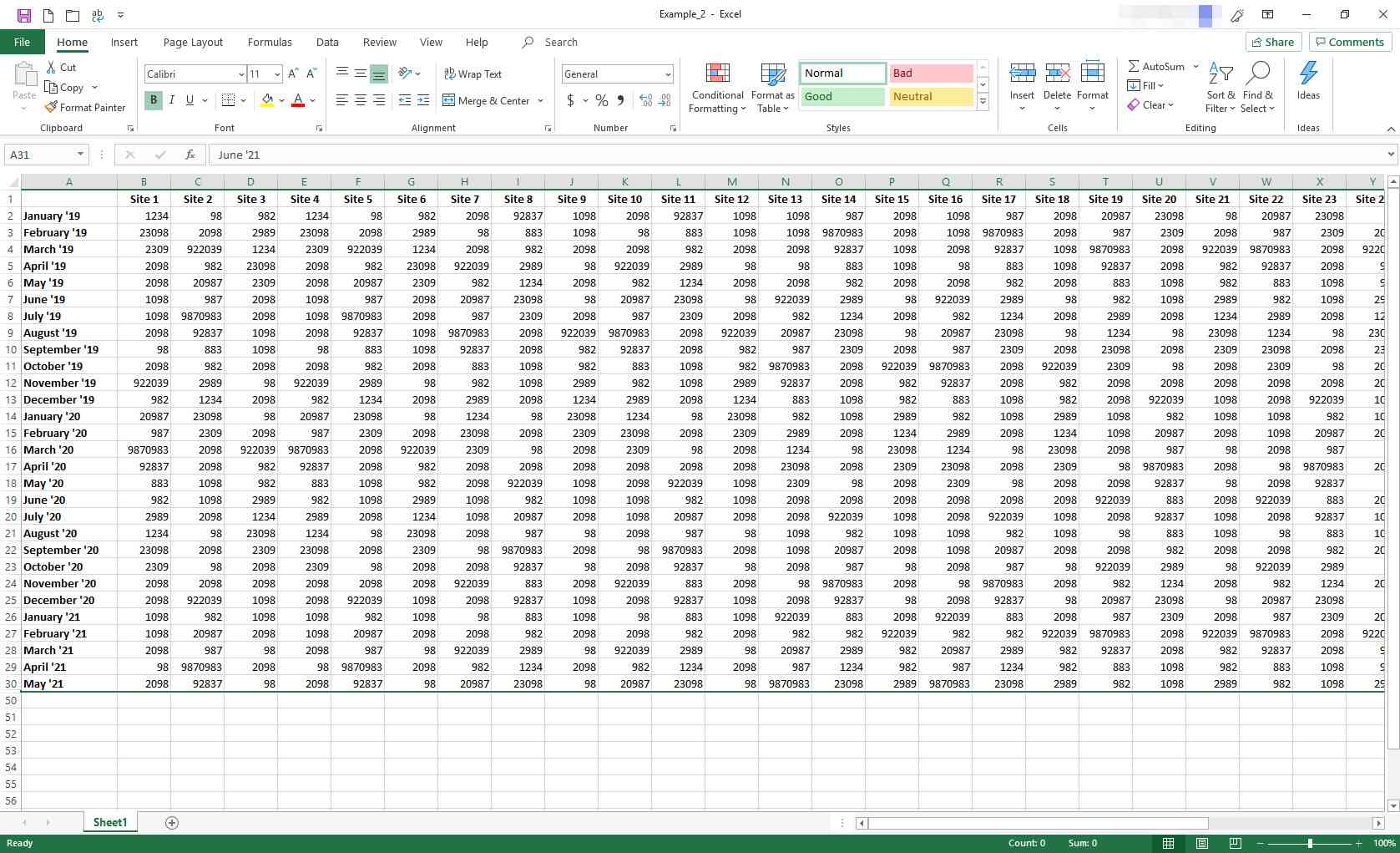 Excel worksheet with limited rows displayed
