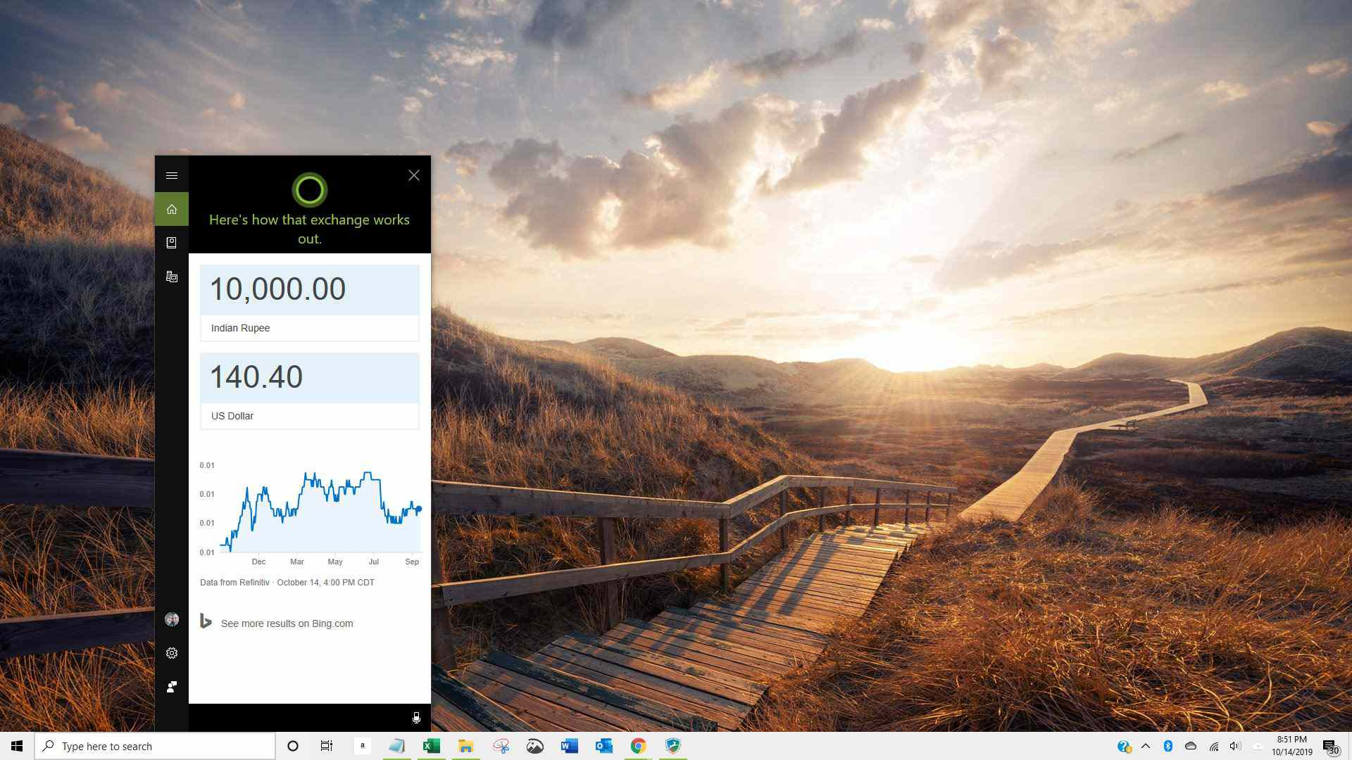 Screenshot of currency conversion using Cortana