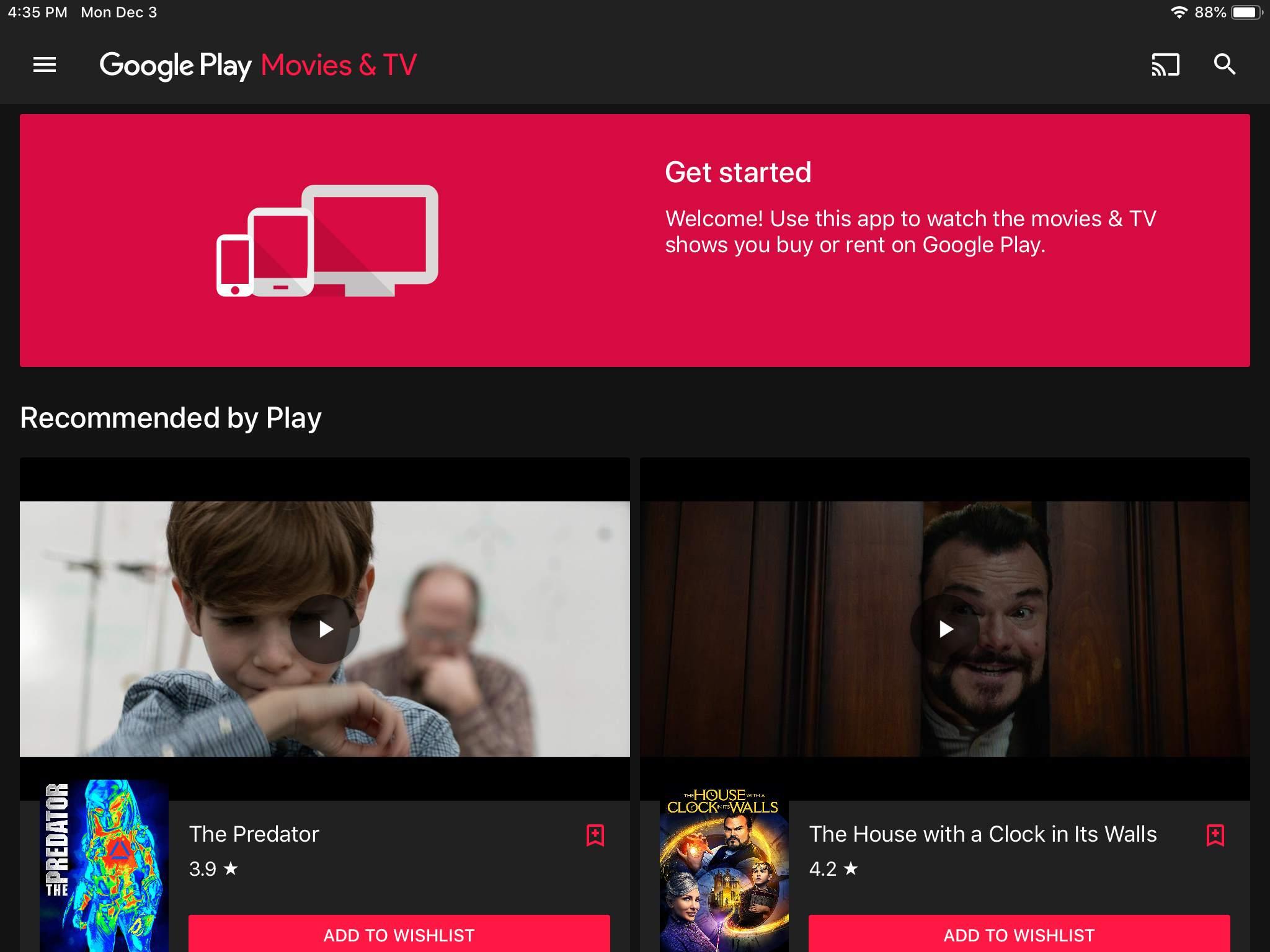 Google Play Movies & TV app on iPad