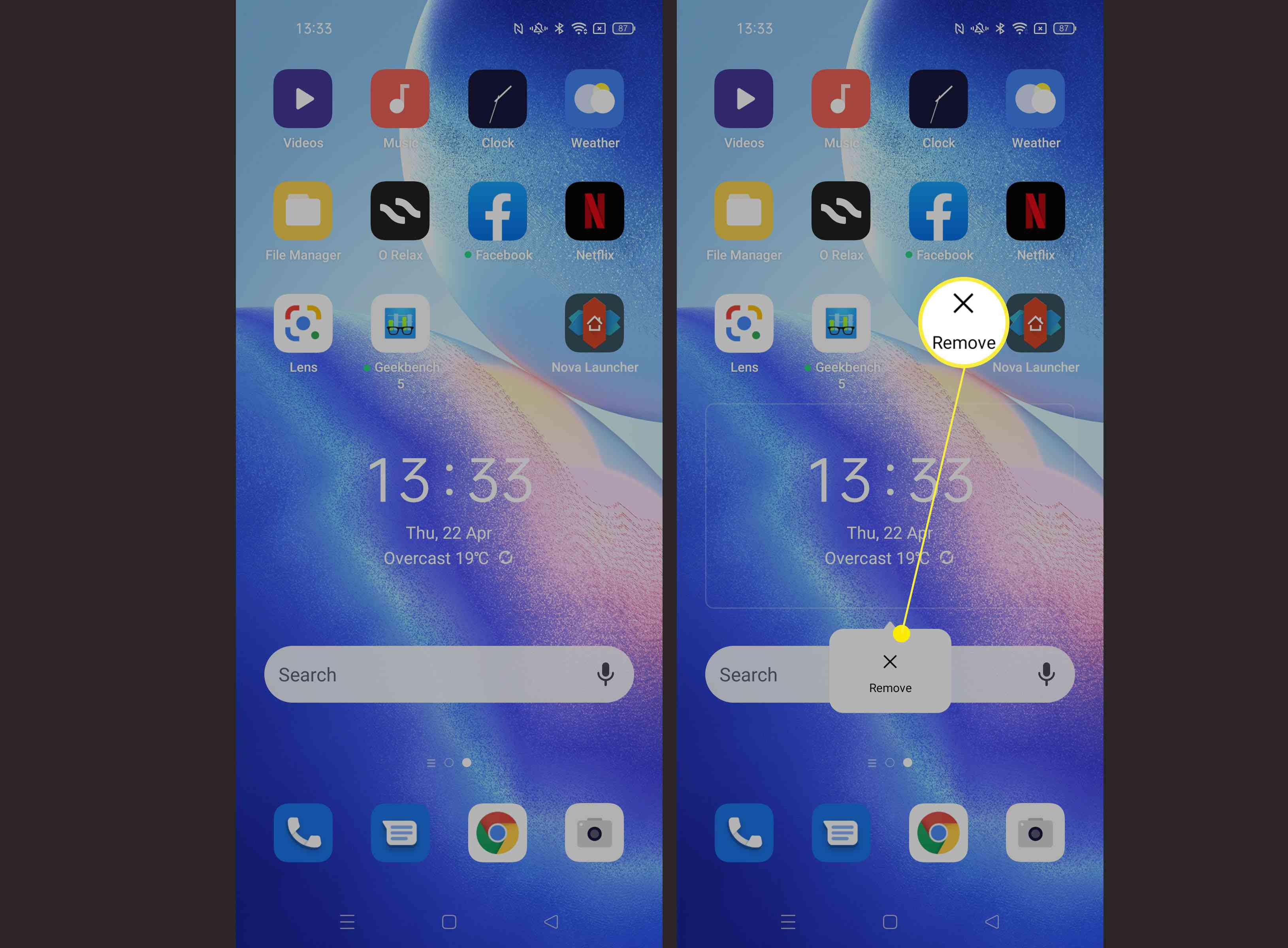 Steps required to uninstall/remove widgets on Android