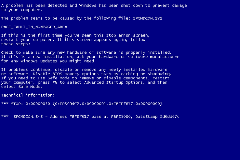 Screenshot of a Windows XP BSOD with a Stop Code