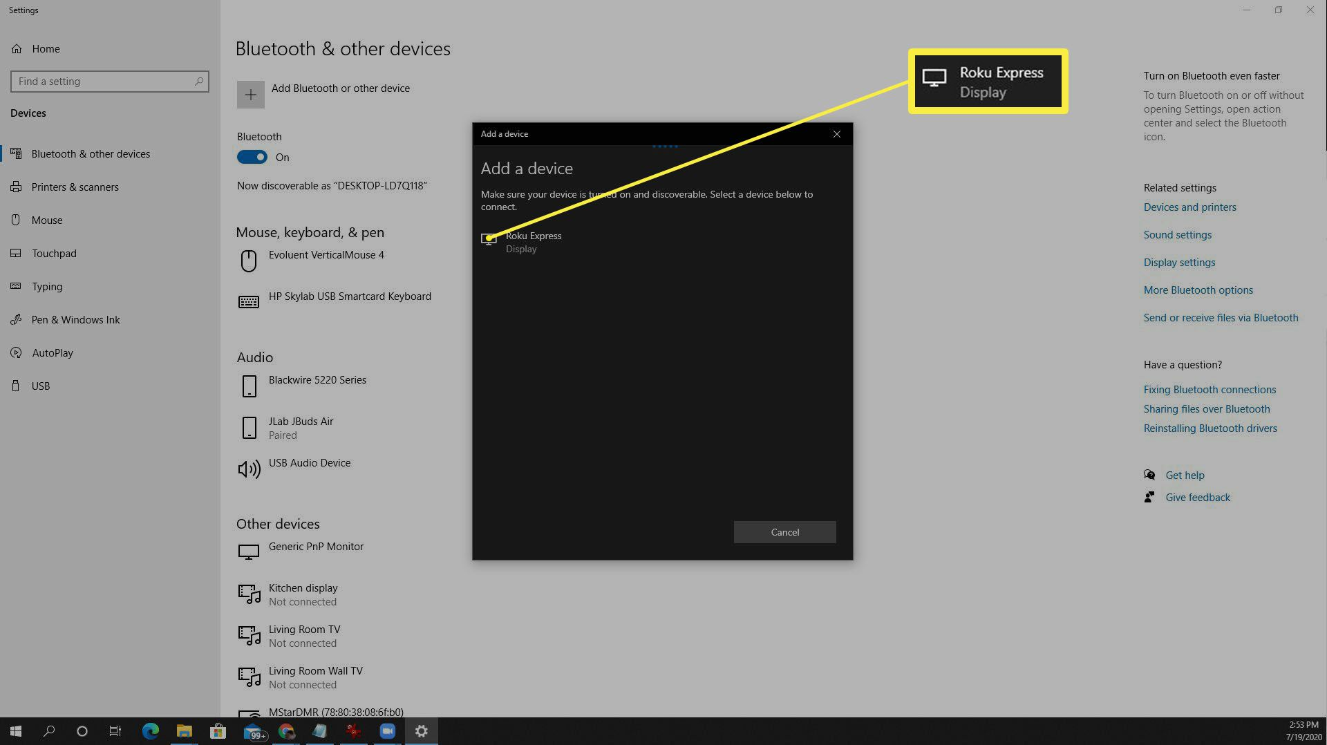 Screenshot of Roku device detected from Windows 10.