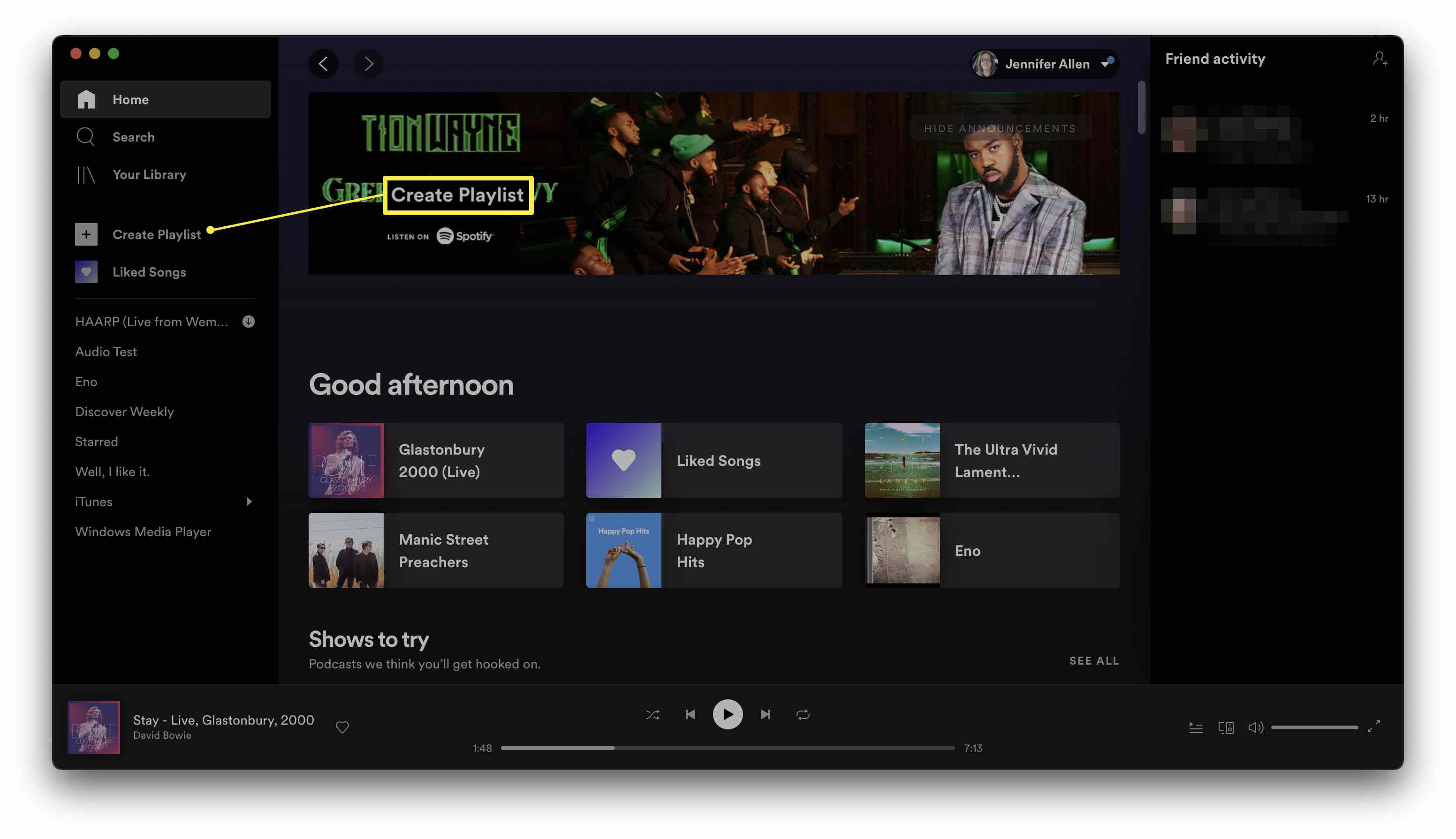 Spotify with Create Playlist highlighted
