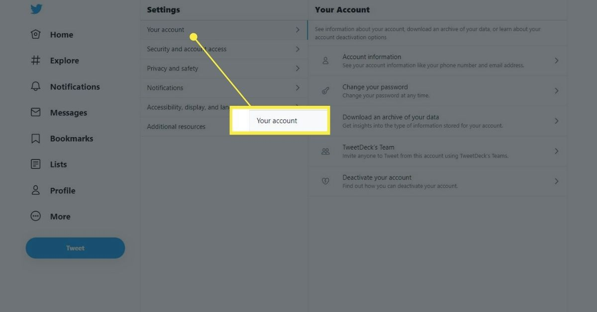 Your Account in Twitter settings