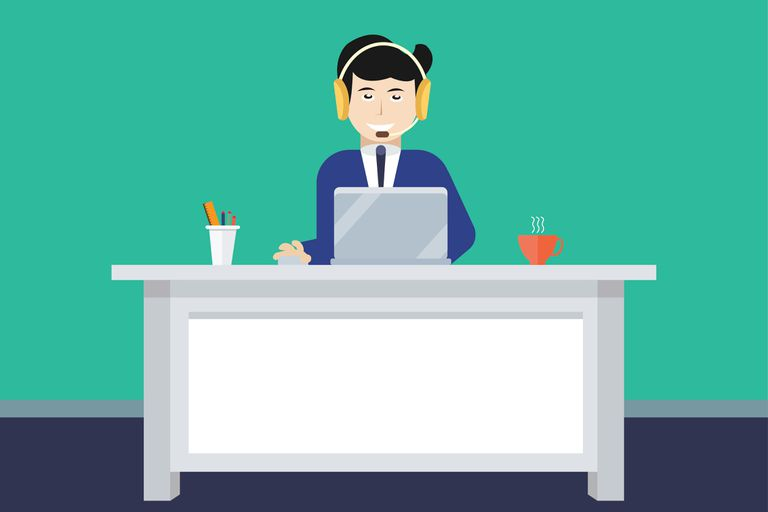 Operator of call center working - illustration