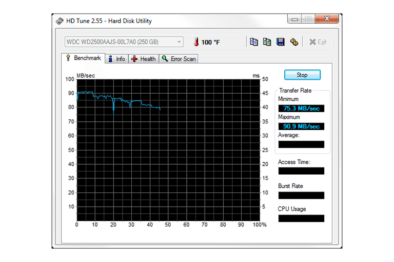 Screenshot of HD Tune v2.55 in Windows 7